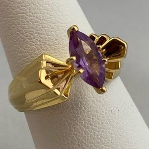 Jewelry - 18KT Over Sterling Silver & Amethyst Ring